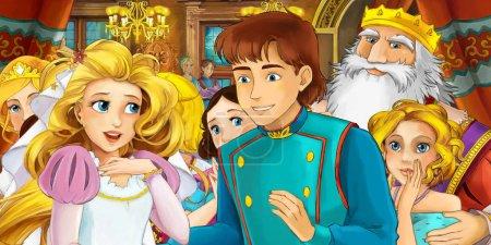 Foto de Dibujos animados feliz pareja real en el castillo - ilustración para los niños - Imagen libre de derechos