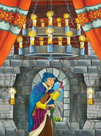 cartoon scene with olderwoman - sorceress - in medieval castle room - illustration for children