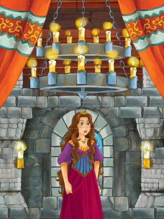 Foto de Escena de dibujos animados con el príncipe en la habitación del castillo medieval - ilustración para los niños - Imagen libre de derechos