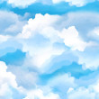 Cartoon scene with sky and clouds - stage for diff...