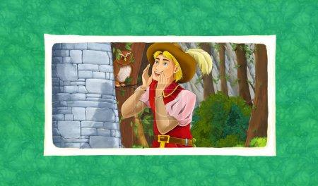 Foto de Escena de dibujos animados con Príncipe o rey cerca de la figura del majestuoso Castillo para los niños - Imagen libre de derechos