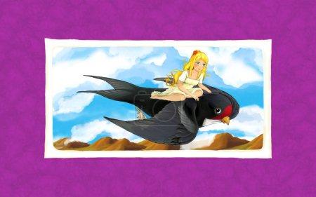 Foto de Escena de cuento de hadas de dibujos animados con una niña volando sobre el pájaro cuco - enmarcado con fondo - ilustración para los niños - Imagen libre de derechos