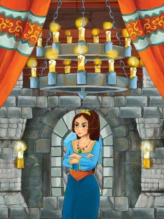 Foto de Escena de dibujos animados con princesa en sala castillo medieval - ilustración para los niños - Imagen libre de derechos