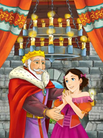 cartoon scene with young princess and king in the castle room - illustration for children