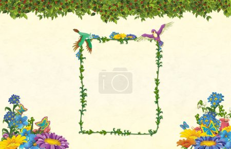 cartoon scene with floral frame - beautiful title page with space for text - illustration for children