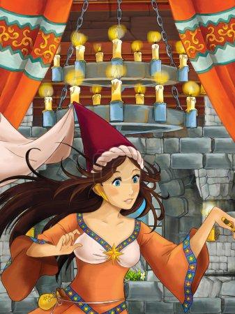 Foto de Escena de dibujos animados con olderwoman - bruja - en sala de castillo medieval - ilustración para los niños - Imagen libre de derechos
