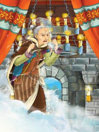 Foto de Escena de dibujos animados con mujer mayor - bruja - en sala de castillo medieval - ilustración para los niños - Imagen libre de derechos