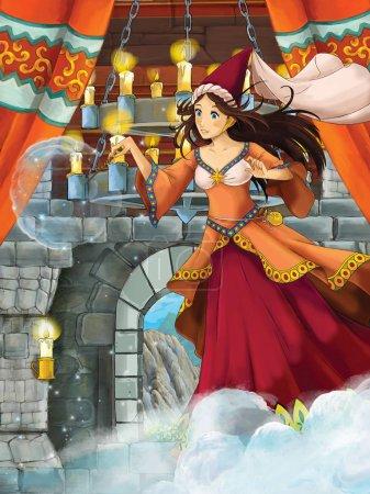 Foto de Escena de dibujos animados con la hechicera princesa en la sala medieval del castillo - ilustración para los niños - Imagen libre de derechos