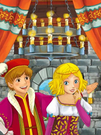 Photo for Cartoon scene with prince and princess talking together in the castle room - illustration for children - Royalty Free Image