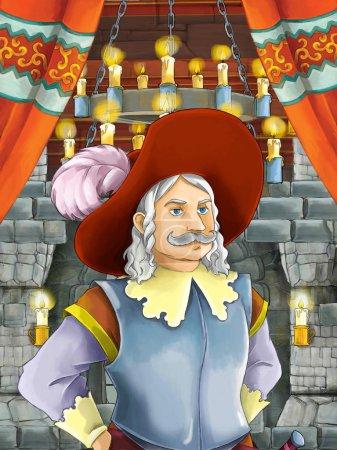 Foto de Escena de dibujos animados feliz con Príncipe o rey en sala Castillo - ilustración para los niños - Imagen libre de derechos