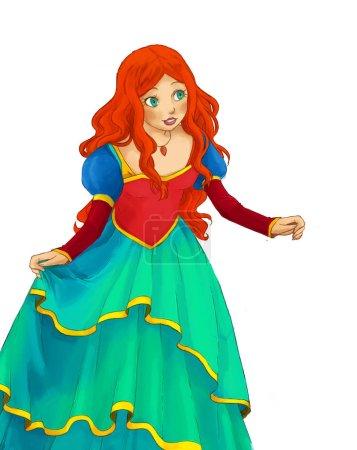Foto de Escena de dibujos animados con la bella princesa sobre fondo blanco - ilustración para los niños - Imagen libre de derechos