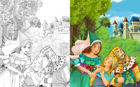 cartoon scene with beautiful princess sorceress in the forest near the castle - illustration for children