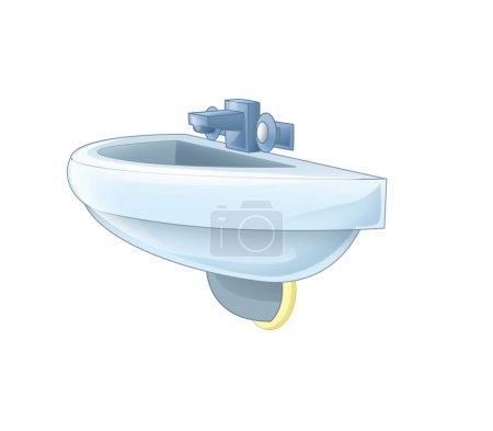 Foto de Escena de dibujos animados con lavabo sobre fondo blanco - ilustración para los niños - Imagen libre de derechos