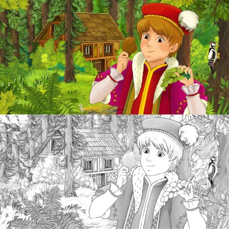 cartoon scene with young prince traveling and encountering hidden wooden house in the forest - with artistic coloring page - illustration for children