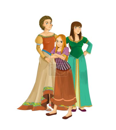 cartoon princesses - smiling beautiful women on white background - illustration for children