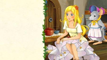 Foto de Escena de cuento de hadas de dibujos animados con hermosa joven en kotchen medieval con una azafata de ratón - ilustración para los niños - Imagen libre de derechos