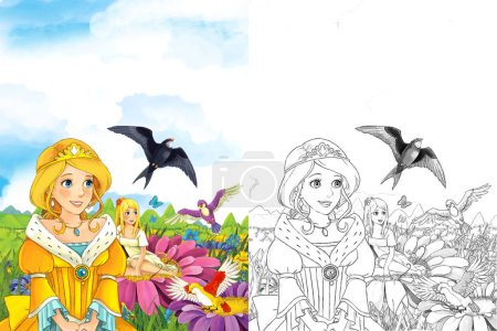 cartoon fairy tale scene with beautiful princess - elf girl looking at flying cuckoo bird - illustration for children