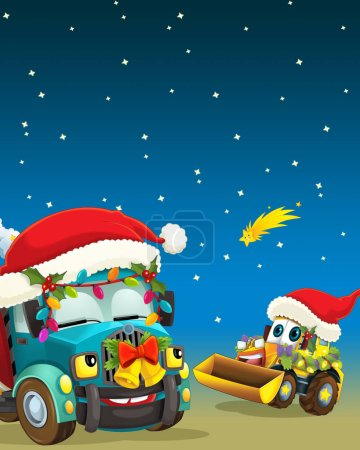 cartoon scene with construction site vehicles in christmas props - illustration for children