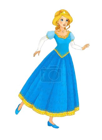 cartoon scene with beautiful princess on white background - illustration for children