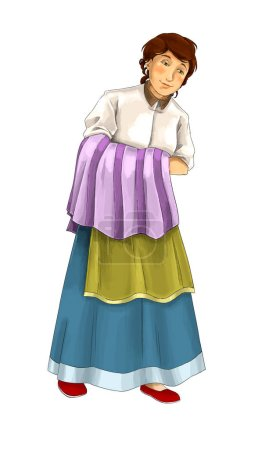 cartoon scene with middle aged farm woman on white background - illustration for children