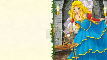 cartoon scene with beautiful prince princess on white background - illustration for children