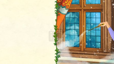 cartoon illustration with mysterious hand casting spell with magic wand - with space frame for text - illustration for children