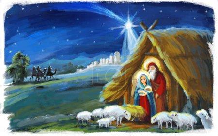 Photo pour Illustration religieuse trois rois - et sainte famille - scène traditionnelle - illustration pour enfants - image libre de droit