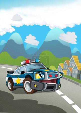 cartoon scene with happy police car on street patrolling - duty - illustration for children