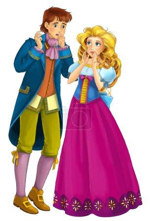 Foto de Cuento de hadas de dibujos animados personajes - pareja real Príncipe y princesa sobre fondo blanco - ilustración para niños - Imagen libre de derechos