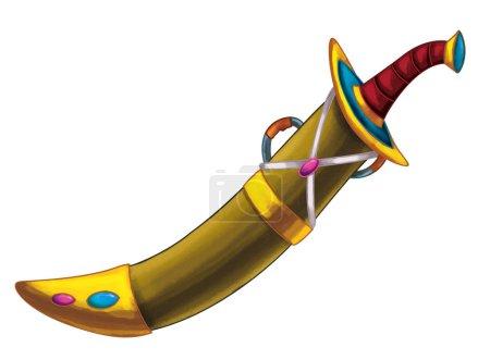 Photo pour Scène de dessin animé avec épée arabe médiévale - illustration pour enfants - image libre de droit