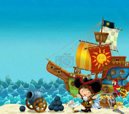 Cartoon scene of beach near the sea or ocean - pir...
