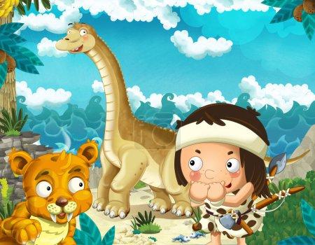 Photo pour Scène de dessin animé avec un homme des cavernes près du rivage de la mer regardant un dinosaure géant heureux et drôle diplodocus et tigre à dents de sabre illustration pour les enfants - image libre de droit