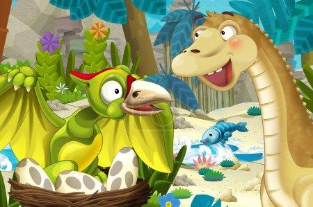 Photo pour Scène de dessin animé dans la jungle près d'un ruisseau ou d'une rivière avec un dinosaure volant ptérodactyle et un apatosaure - illustration pour enfants - image libre de droit