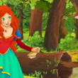 Cartoon scene with happy young girl in the forest ...