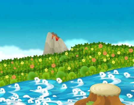 Photo pour Scène de dessin animé avec ruisseau ou rivière près d'une jungle et volcan actif sans personne sur scène illustration pour les enfants - image libre de droit