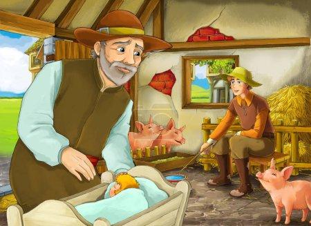 Zeichentrickszene mit zwei Bauern oder verkleideten Prinzen und älteren Bauern im Schweinestall Illustration für Kinder