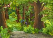 """Постер, картина, фотообои """"мультфильм летняя сцена с лугом в лесу иллюстрация для детей"""""""