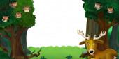 """Постер, картина, фотообои """"мультик-сцена с лесом и животными на белом фоне для иллюстрации текста для детей"""""""