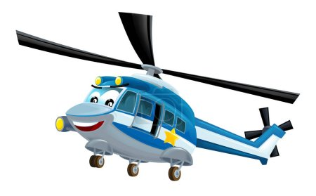 Photo pour Hélicoptère de police de bande dessinée sur fond blanc - illustration pour enfants - image libre de droit