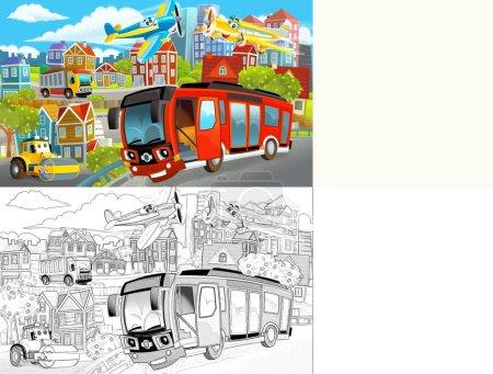 Photo pour Dessin animé scène joyeuse et drôle du milieu d'une ville avec des voitures au volant - illustration pour les enfants - image libre de droit
