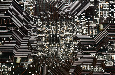 Photo for Printed circuit board and microchip, or cpu closeup - electronic component for digital equipment, concept for development of electric computer circuits - Royalty Free Image