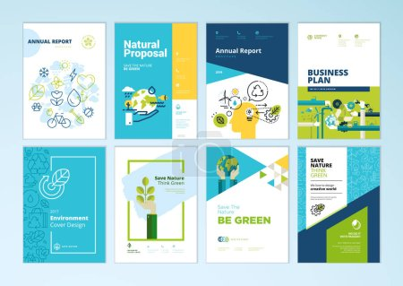 Set of brochure and annual report cover design tem...
