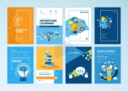 Photo for Set of brochure design templates on the subject of education, school, online learning. Vector illustrations for flyer layout, marketing material, annual report cover, presentation template. - Royalty Free Image