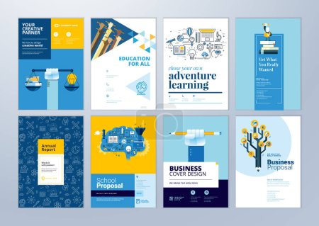 Illustration for Set of brochure design templates on the subject of education, school, online learning. Vector illustrations for flyer layout, marketing material, annual report cover, presentation template. - Royalty Free Image