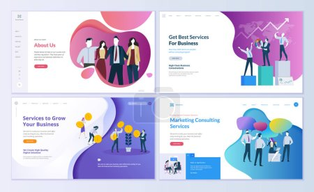 Set of web page design templates for business, finance and marketing. Modern vector illustration concepts for website and mobile website development. Easy to edit and customize.