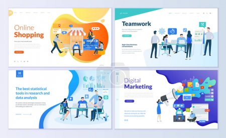 Illustration for Set of web page design templates for online shopping, digital marketing, teamwork, business strategy and analytics. Modern vector illustration concepts for website and mobile website development. - Royalty Free Image
