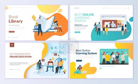 Illustration for Set of web page design templates for book library, online learning, education. Modern vector illustration concepts for website and mobile website development. - Royalty Free Image