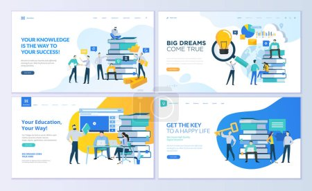 Photo for Set of web page design templates for education, know how, university, business solutions. Modern vector illustration concepts for website and mobile website development. - Royalty Free Image