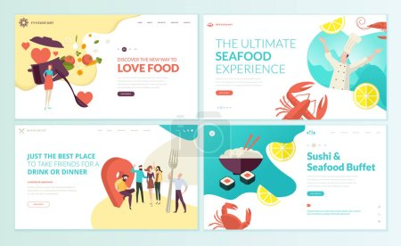 Photo pour Ensemble de modèles de conception de page Web pour le restaurant, les fruits de mer, les sushis, la nourriture et l'alcool. . - image libre de droit