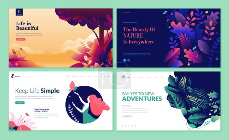 Illustration for Set of web page design templates for beauty, spa, wellness, natural products, cosmetics, body care, healthy life. Modern vector illustration concepts for website and mobile website development. - Royalty Free Image